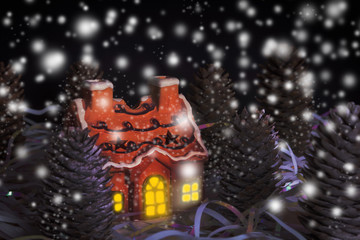 Christmas card of night forest with house, light of window and snow