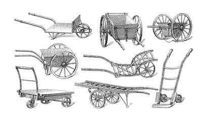 Old cart collection - vintage illustration