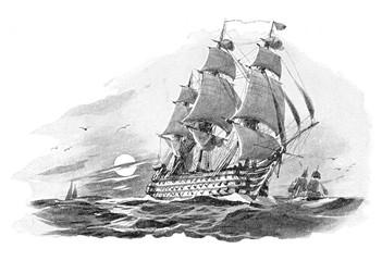 Spoed Fotobehang Schip English warship (Nelson Victory) - vintage illustration