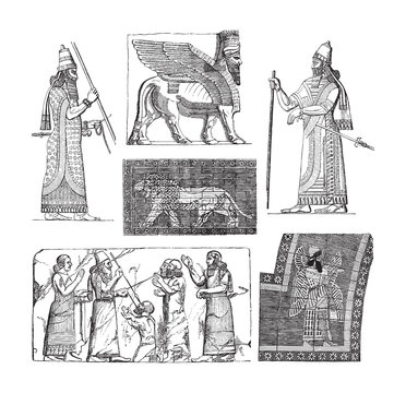 Babylonian and Assyrian art - vintage illustration
