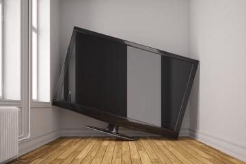 Riesiger LED Fernseher im zu kleinen Raum