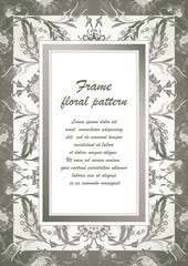 Arabesque vintage decor ornate pattern for design template vector Eastern motif Floral Frame with place for text. Silver white grey flowers for save the date, greeting card, wedding invitation, poster