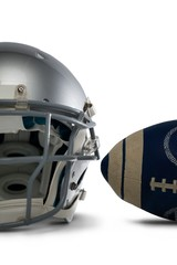 Close-up of ball and helmet