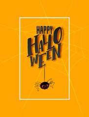 Happy Halloween pattern and hand written lettering text with fun cartoon spider. Vector illustration. Party Invitation, card, poster. Black and yellow colors. Vertical