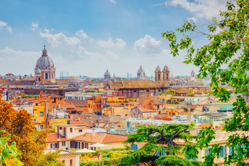 Fotomurales - View of the city of Rome from above, from the hill of Terrazza del Pincio. Italy.