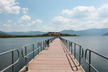 Floating bridge at Prespes Lake Florina northern Greece
