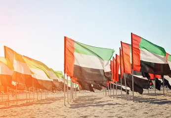 Celebration of National Day - Day of the United Arab Emirates, Large number of flags of the United Arab Emirates on the sand, toned