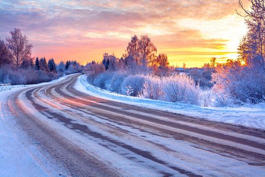 wintry snowy road in ice