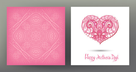 Set of postcard or banner for Happy mother's Day with Love heart