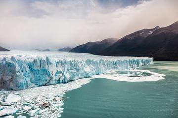 View of lake Argentino and Perito Moreno Glacier and mountains in Los Glaciares National Park, Patagonia, Chile