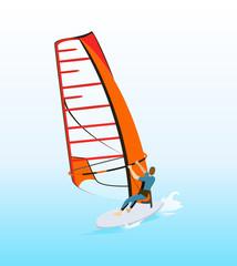 Isolated windsurf in ocean.