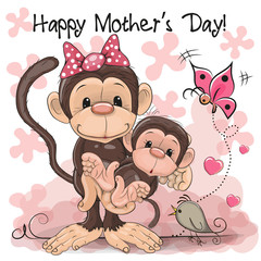 Greeting card Two Monkeys a mother and a baby