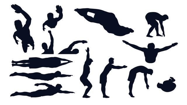 swimming male silhouette set