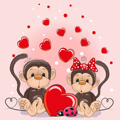 Valentine card with Lovers Monkeys