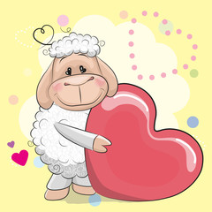 Greeting card cute Sheep with heart