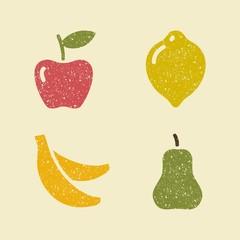 Apple lemon banana and pear. Stylized images of fruits.