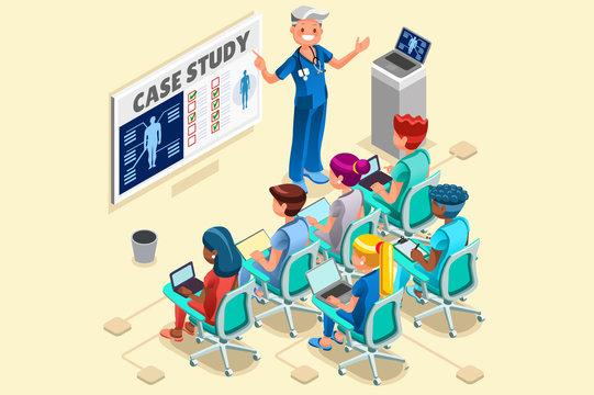 Group of Doctors and Nurses Vector Cartoon