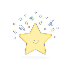 Star icon illustration, design concept of favorite, bookmark, mark or rate sign. Flat line UX / UI element for web and mobile design, isolated object.