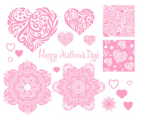 Set of design elements for Happy mother's Day with Love heart, s