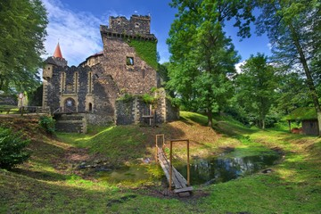 Entrance portal to Gothic-Renaissance style Grodziec castle in Lower Silesia, Poland