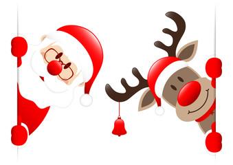 Santa & Rudolph Bell Banner