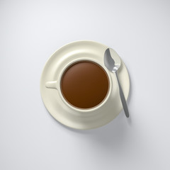 3D Illustration cup of coffee with spoon top view on white background