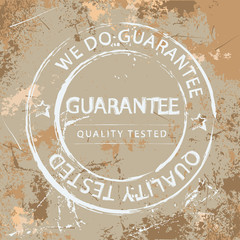 Guarantee stamp. Illustrated vector with grunge background