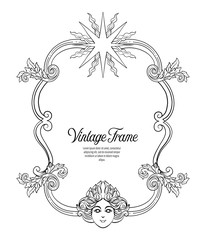 Vintage richly decorated frame in rococo style for menus, ads, a