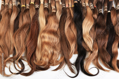 Hair extension equipment of natural hair. hair samples of different ...