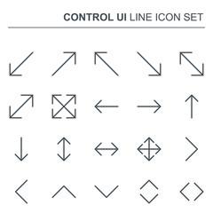 Control UI Vector Thin Line Arrows Icons. Simple Minimal Pictogram.