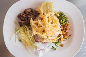 Kao Klook Ga-pi , Rice Mixed with Shrimp paste ,thai food .
