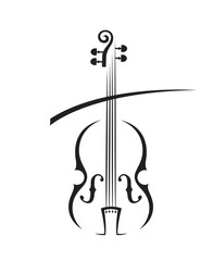 abstract monochrome illustration of violin