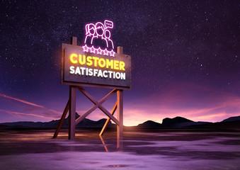 customer satisfaction neon road sign glowing at night. Mixed media illustration