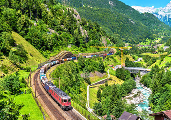Freight train climbs up the Gotthard railway - Switzerland