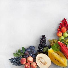Panorama. Various fruits and berries