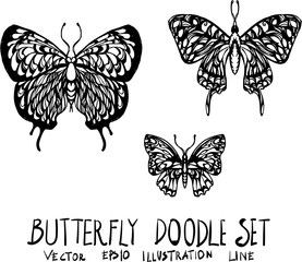 Set of butterfly doodle illustration Hand drawn Sketch line vector eps10