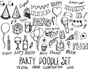 Set of Party doodle illustration Hand drawn Sketch line vector eps10