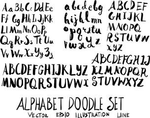 Set of alphabet font doodle illustration Hand drawn Sketch line vector eps10