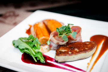 Foie Gras with bacon cranberry sauce and caramelized banana