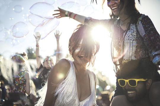 Revelers enjoying a summer music festival