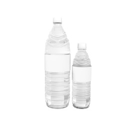 Big and small plastic bottle concept 3d render on white background no shadow