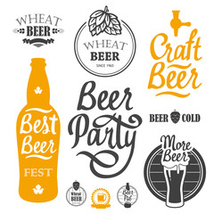 Vector Illustration with beer pub logo and labels. Simple symbols glass, bottle. Oktoberfest traditions. Decorative elements for your design. Black white style.