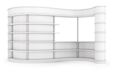 Curved shelving with shelves for exhibitions and sales. 3d images set