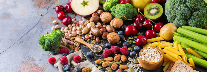 Foto auf Leinwand Sortiment Selection of healthy rich fiber sources vegan food for cooking