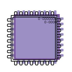 microchip closeup icon watercolor silhouette in purple color with thick contour vector illustration