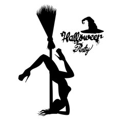 Set of silhouette image of Halloween witches. Witch, halloween, vector, cartoon, illustration, hat