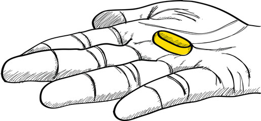 Doodle Golden Ring on Hand Line Sketched Up, Vector Illustration EPS 10.