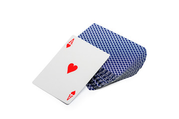 playing cards desk with ace