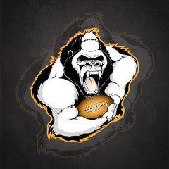Gorilla with the ball for American football on a dark background
