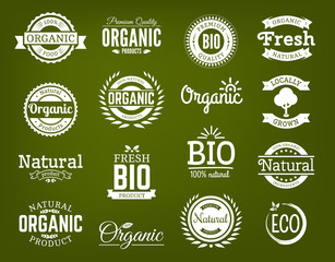 100% organic logo. Collection of healthy organic food labels, logos, badges and signs for identity and packaging of natural, organic, premium quality products. Vector set.